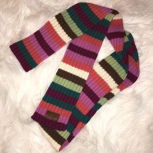 Coach multi color stripe wool cashmere scarf